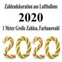Ballondekoration Silvester 2020, Zahlen aus Luftballons mit individueller Farbauswahl