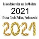 Ballondekoration Silvester 2021, Zahlen aus Luftballons mit individueller Farbauswahl