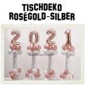 Dekoration Silvester, 2021, 4 Stück Ballondekorationen zur Silvesterparty, rosegold-silber
