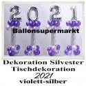 Dekoration Silvester, 2021, 4 Stück Ballondekorationen zur Silvesterparty, violett-silber