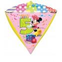 Diamondz Luftballon aus Folie mit Helium, Minnie Mouse, 5. Geburtstag, Bunt, Mädchen