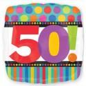 Luftballon aus Folie, Dots and Stripes, zum 50. Geburtstag, mit Helium