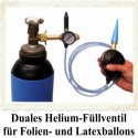 Duales Ballongas-Helium Auffüllventil mit Schlauch für Luftballons, Latexballons, Bubbles und Folienballons