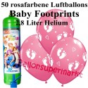 Luftballons Baby Footprints, rosa, Luftballons Midi-Set, 50 Ballons zu Geburt, Taufe, Babyparty Mädchen, mit Helium-Einwegbehälter