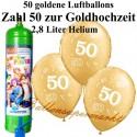 Goldene Hochzeit, Zahl 50, metallic, Luftballons Midi-Set, 50 goldene Ballons, mit Helium-Einwegbehälter