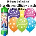 Luftballons Herzlichen Glückwunsch, bunt, Luftballons Midi-Set, 50 Ballons, mit Helium-Einwegbehälter