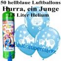 Luftballons Hurra, ein Junge, hellblau, Luftballons Midi-Set, 50 Ballons zu Geburt, Taufe, Babyparty, mit Helium-Einwegbehälter