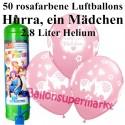 Luftballons Hurra, ein Mädchen, rosa, Luftballons Midi-Set, 50 Ballons zu Geburt, Taufe, Babyparty, mit Helium-Einwegbehälter