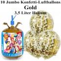 Jumbo Konfetti-Luftballons, Gold, Luftballons Midi-Set, 10 transparente Ballons, mit Helium-Einwegbehälter