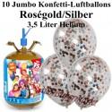 Jumbo Konfetti-Luftballons, Rosegold/Silber, Luftballons Midi-Set, 10 transparente Ballons, mit Helium-Einwegbehälter