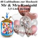 Großes Luftballon-Set, Mr and Mrs Rosegold, 40 Ballons, mit Helium-Einwegbehälter