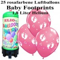 Luftballons Baby Footprints, rosa, Luftballons Mini-Set, 25 Ballons zu Geburt, Taufe, Babyparty Mädchen, mit Helium-Einwegbehälter