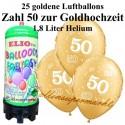 Goldene Hochzeit, Zahl 50, metallic, Luftballons Mini-Set, 25 goldene Ballons, mit Helium-Einwegbehälter