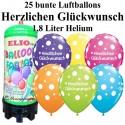 Luftballons Herzlichen Glückwunsch, bunt, Luftballons Mini-Set, 25 Ballons, mit Helium-Einwegbehälter