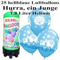 Luftballons Hurra, ein Junge, hellblau, Luftballons Mini-Set, 25 Ballons zu Geburt, Taufe, Babyparty, mit Helium-Einwegbehälter