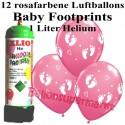 Luftballons Baby Footprints, rosa, Luftballons Super-Mini-Set, 12 Ballons zu Geburt, Taufe, Babyparty Mädchen, mit Helium-Einwegbehälter