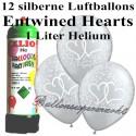 Luftballons zur Hochzeit, Entwined Hearts Silber, Luftballons Super-Mini-Set, 12 Ballons, mit Helium-Einwegbehälter