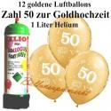 Goldene Hochzeit, Zahl 50, metallic, Luftballons Super-Mini-Set, 12 goldene Ballons, mit Helium-Einwegbehälter