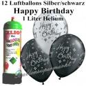 Luftballons zum Geburtstag, Silber/ Schwarz, Luftballons Super-Mini-Set, 12 Happy Birthday Ballons, mit Helium-Einwegbehälter