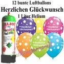 Luftballons Herzlichen Glückwunsch, bunt, Luftballons Super-Mini-Set, 12 Ballons, mit Helium-Einwegbehälter
