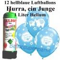 Luftballons Hurra, ein Junge, hellblau, Luftballons Super-Mini-Set, 12 Ballons zu Geburt, Taufe, Babyparty, mit Helium-Einwegbehälter