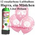 Luftballons Hurra, ein Mädchen, rosa, Luftballons Super-Mini-Set, 12 Ballons zu Geburt, Taufe, Babyparty, mit Helium-Einwegbehälter