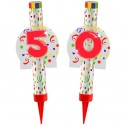 Eisfontänen Zahl 50, Dekoration zum 50. Geburtstag und Jubiläum