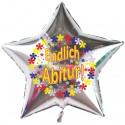 Endlich Abitur, Luftballon mit Helium-Ballongas, Sternballon, silber