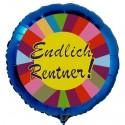 Endlich Rentner, blauer Luftballon aus Folie ohne Helium-Ballongas