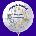 Endlich Schule! Alles Gute zum Schulanfang! Weißer Luftballon zum Schulanfang, mit Helium-Ballongas