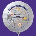 Endlich Schule! Alles Gute zum Schulanfang! Weißer Luftballon zum Schulanfang, mit dem Namen des Schulanfängers, inkl. Helium-Ballongas