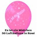 """Luftballons """"Es ist ein Mädchen"""", Rosé, 50 Stück"""