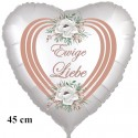 Ewige Liebe. Herzluftballon, Folienballon zur Hochzeit, inklusive Helium-Ballongas