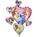 Luftballon Princess Hearts, großer Folienballon, Cluster aus Herzen mit Ballongas