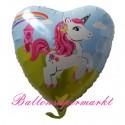 Einhorn, Folienballon in Herzform ohne Helium-Ballongas