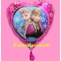 Frozen, Anna und Elsa Herzluftballon aus Folie ohne Helium