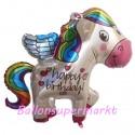 Happy Birthday Folienballon, Rainbow Pony, mit Helium zum Geburtstag