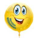 Herzlich Willkommen, Luftballon aus Folie mit Helium-Ballongas, Ballongrüße