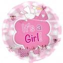 Luftballon zu Geburt und Taufe eines Mädchens, It's a Girl, ohne Ballongas Helium