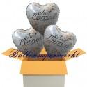 3 Herzluftballons zur Hochzeit, Just Married Holographic, inklusive Helium