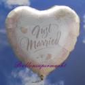 Just Married, Herz, Folienballon ohne Helium-Ballongas