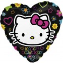 Hello Kitty, Luftballon, Happy Birthday, Folienballon ohne Ballongas