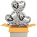 3 Herzluftballons zur Hochzeit, Mr & Mrs, inklusive Helium