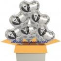 6 Herzluftballons zur Hochzeit, Mr & Mrs, inklusive Helium