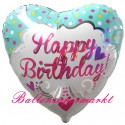 Geburtstags-Luftballon Princess B'Day, Happy Birthday Herz zum Geburtstag (ohne Helium)