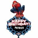 Happy Birthday Folienballon, großer Spider-Man mit Buchstaben und Zahlen zum Einkleben, inklusive Helium zum Kindergeburtstag