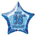 Luftballon, Folie,16. Geburtstag, Happy 16TH Birthday, Prismatik-Sternballon, Blau, ohne Helium