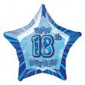 Luftballon, Folie,18. Geburtstag, Happy 18TH Birthday, Prismatik-Sternballon, Blau, ohne Helium