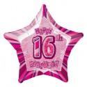 Luftballon, Folie,16. Geburtstag, Happy 16TH Birthday, Prismatik-Sternballon, Rosa, ohne Helium