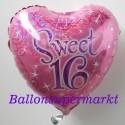 Luftballon Sweet 16, holografischer Folienballon mit Ballongas zum 16. Geburtstag